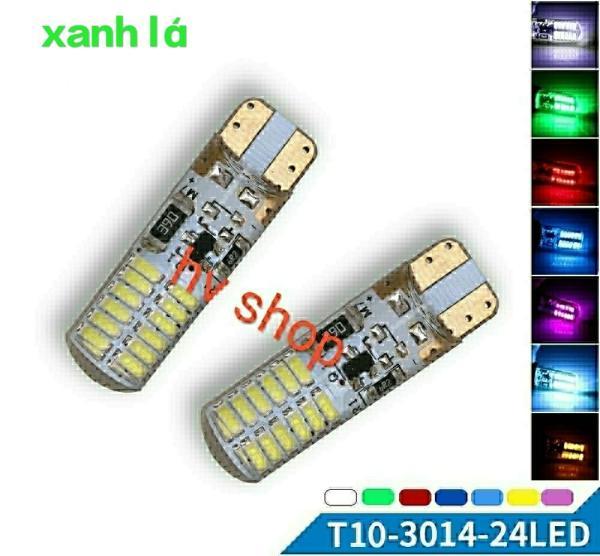 led chop xe may t10 Bộ 2 led demi xi nhan T10 có chớp xe máy 24 tim hv shop ( sáng xanh lá ) ( 1 cặp )
