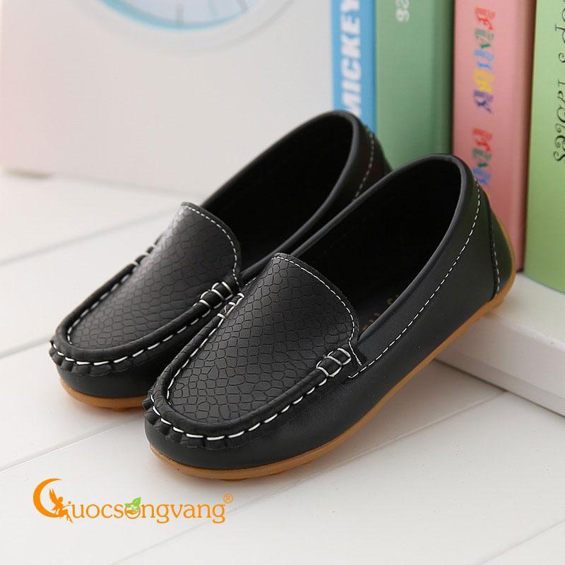 Giày mọi bé trai đẹp màu đen giày da bé trai GLG105