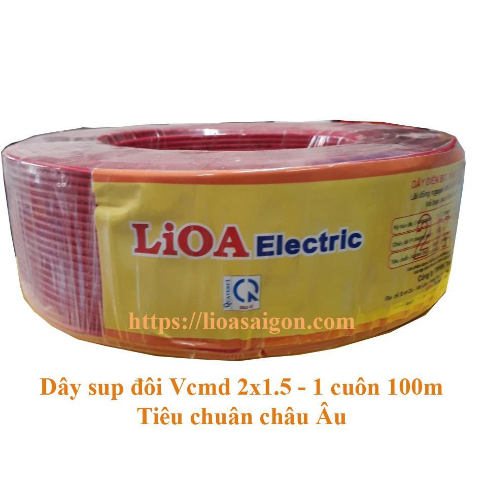 Cuộn 100m Dây điện súp đôi LIOA tiết diện 2x1.5mm2 - Vcmd 2x1.5 100% đồng - Tiêu chuẩn châu Âu