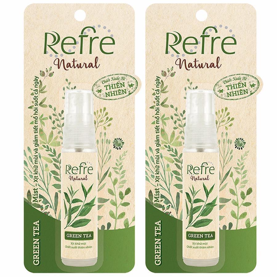 Combo 2 chai Xịt khử mùi Refre Natural Green Tea (Hương trà xanh) 30ml cao cấp