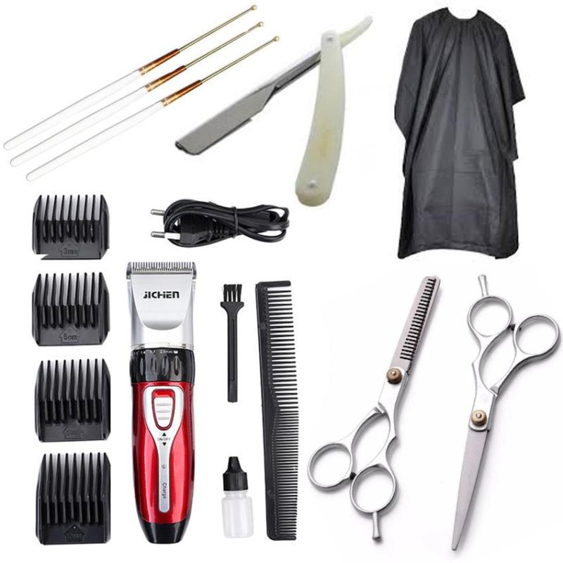 Tông Đơ Cắt Tóc Gia Đình JICHEN Kèm 2 kéo cắt và kéo tỉa(tặng 1 áo choàng 1 dao cạo râu và 1 lấy ráy tai)