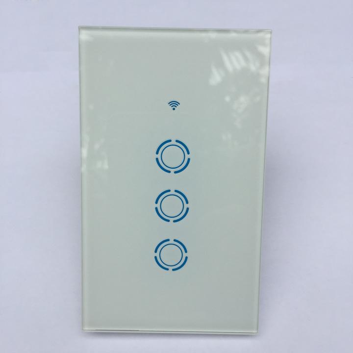 Công tắc cảm ứng âm tường hỗ trợ điều khiển qua mạng wifi cho nhà thông minh [Chuẩn US - 3 Nút Blue]