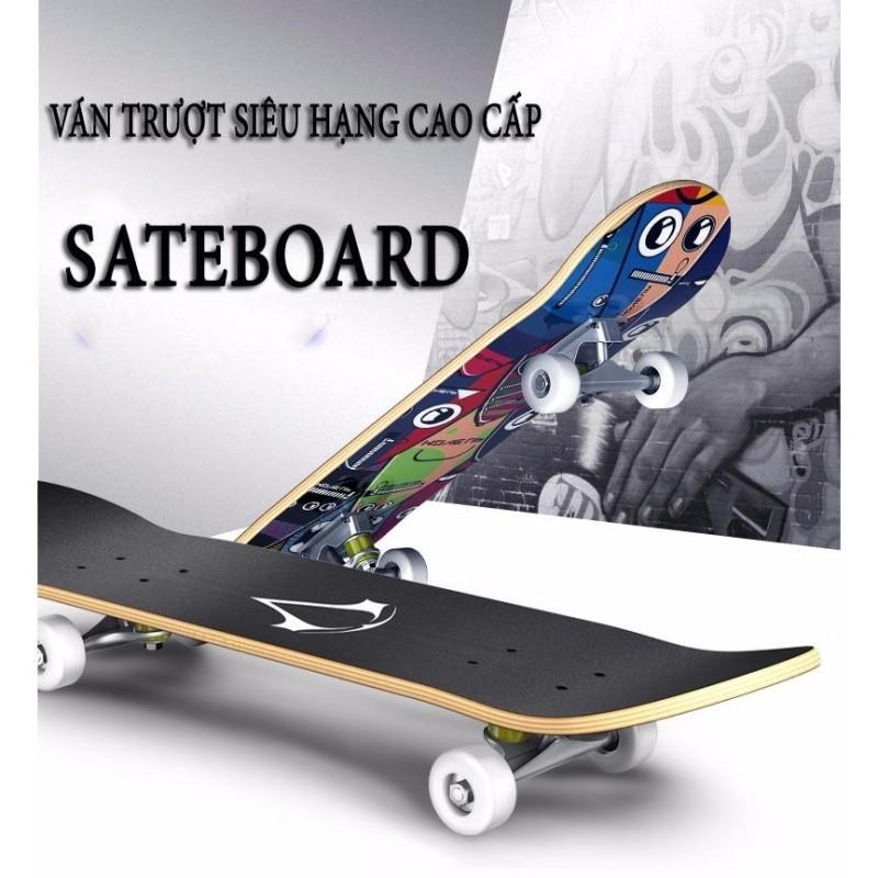Ván trượt Skateboard cao cấp cỡ lớn (Mặt nhám + Bánh cao su)