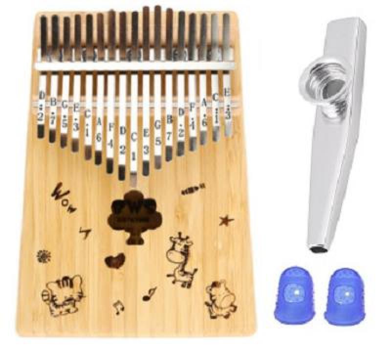 Đàn Kalimba 17 Phím BWS Hoạt hình mặt trời (Solid Mbira Thumb Finger Piano 17 Keys - Kèm túi, hướng dẫn, búa lên dây, dán nốt - Cho trẻ cảm thụ Âm Nhạc và người mới chơi Nhạc Cụ) Kèm Kèn Kazoo + Bọc ngón tay