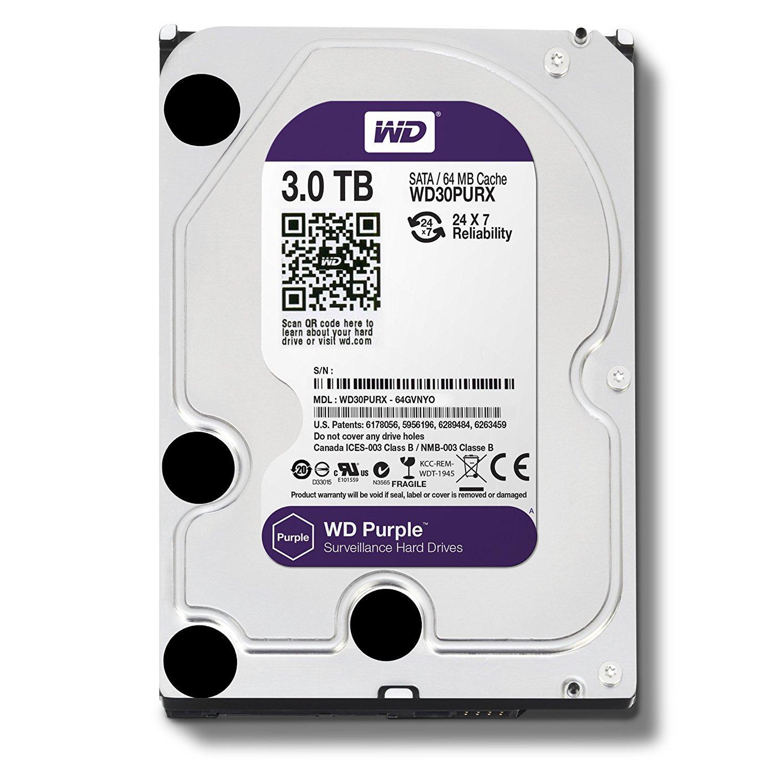 Hình ảnh Ổ cứng gắn trong HDD Western Digital Purple 3TB, SATA 3, 64 Cache - Ổ cứng chuyên dụng cho Camera