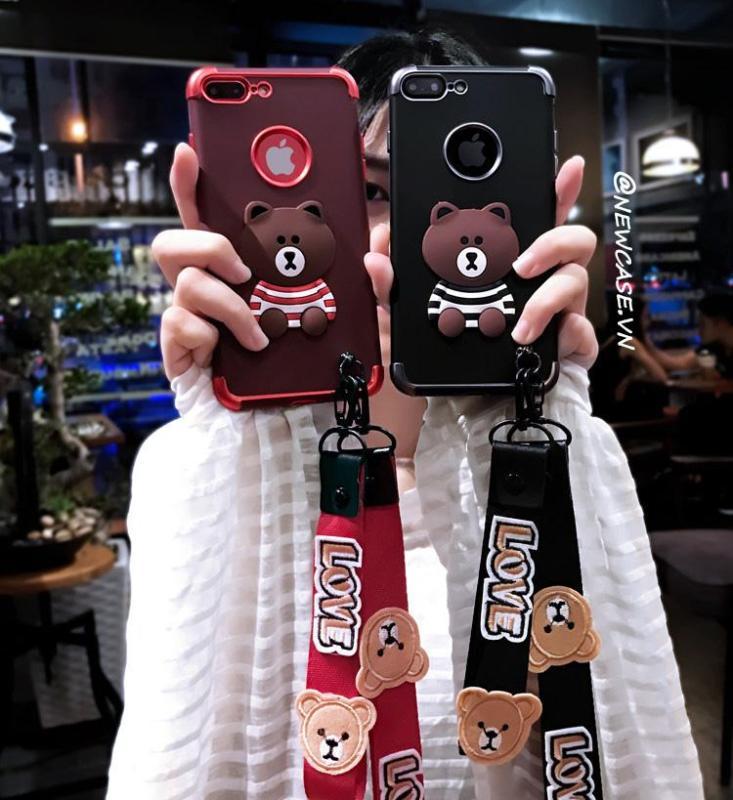 Giá Ốp lưng dẻo gấu (kèm 02 dây ngắn và dài) - Iphone 6, 6plus, 7, 7plus, 8, 8plus, X