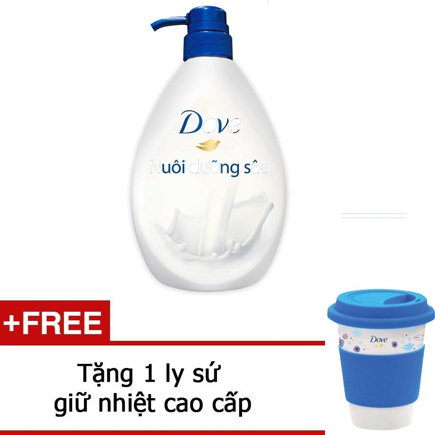 Sữa Tắm Dưỡng Ẩm Dove Deeply Nourishing 530G Tặng 1 Ly Sứ Giữ Nhiệt Cao Cấp Dove Chiết Khấu 30