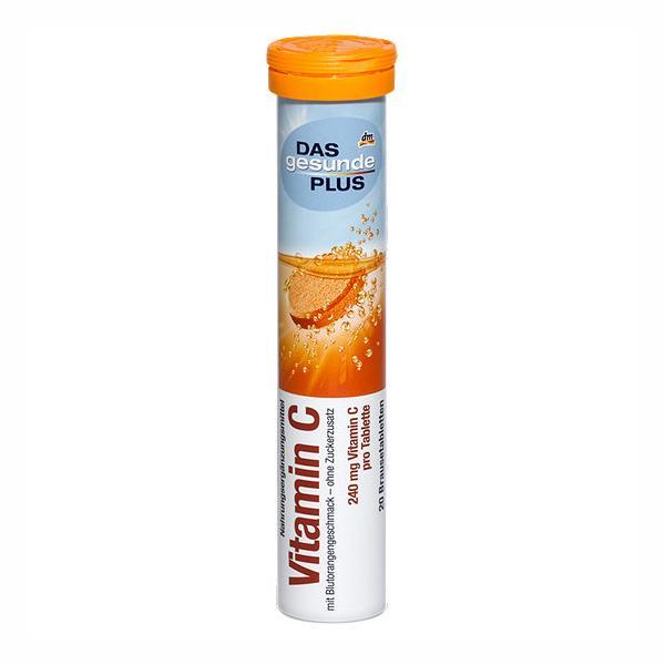 Hộp Viên sủi bổ sung vitamin Das Gesunde Plus – Vitamin C, 20 viên nhập khẩu