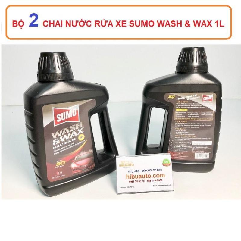 Bộ 2 Chai nước rửa xe bảo vệ màu sơn xe SUMO Wash And Wax 1 lít