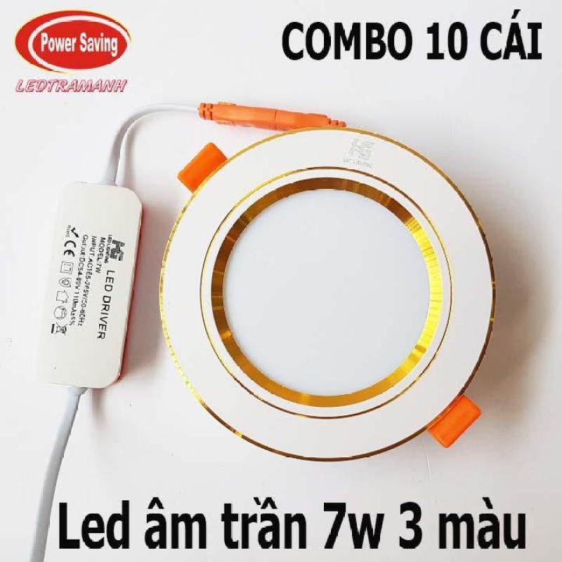 Combo 10 led âm trần 7w 3 màu viền vàng cao cấp