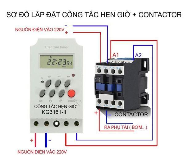 Bộ công tắc hẹn giờ KG316T II và Contactor 18A-220V