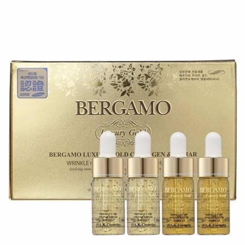 Set 4 chai Siêu tinh chất dưỡng trắng và tái tạo da BERGAMO Luxury Gold Collagen & Caviar 13ml x4 cao cấp