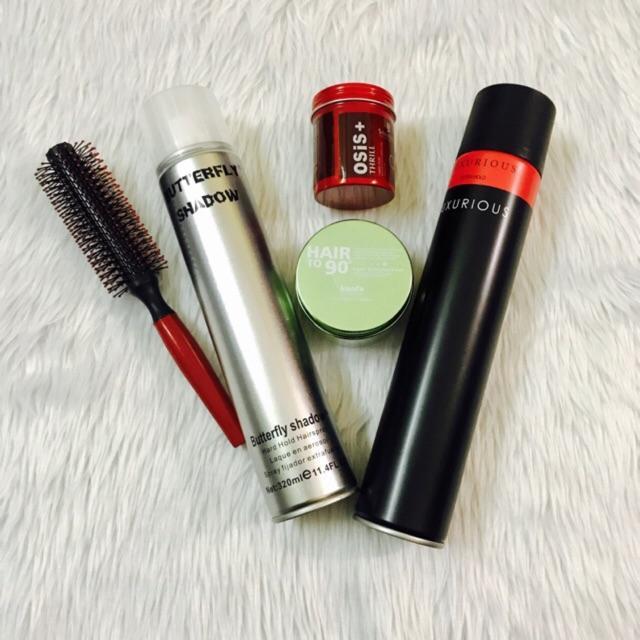 ✅  Combo sáp vuốt tóc Kanfa Nhật + wax Osis + gôm Luxurious + Butterfly + lược tròn