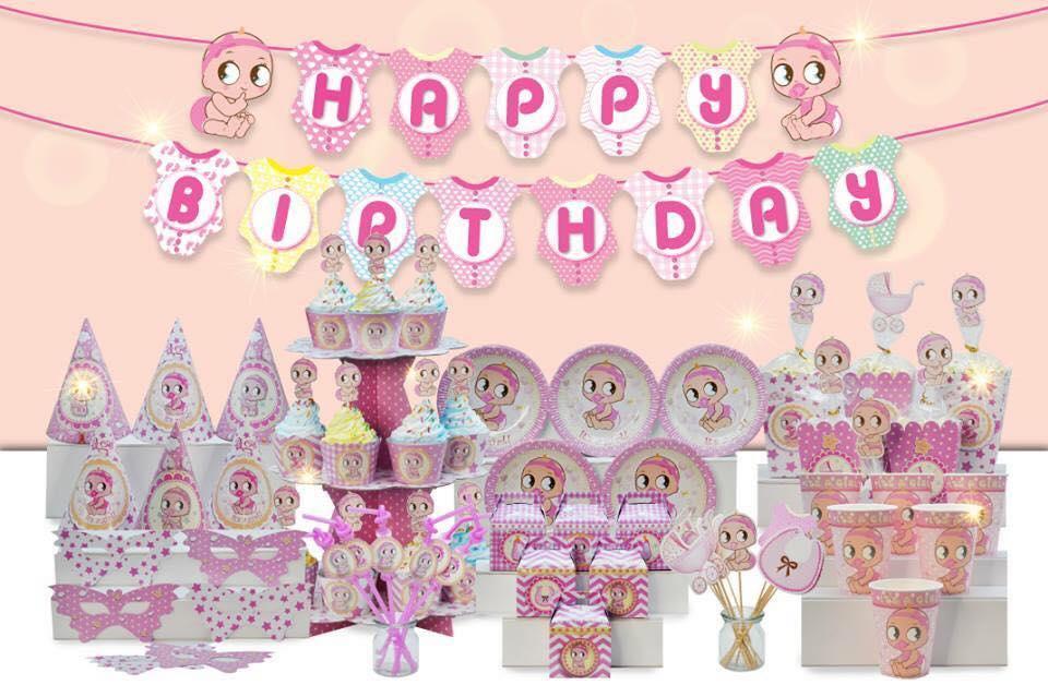 Hình ảnh Bộ trang trí sinh nhật chủ đề baby girl - megaset