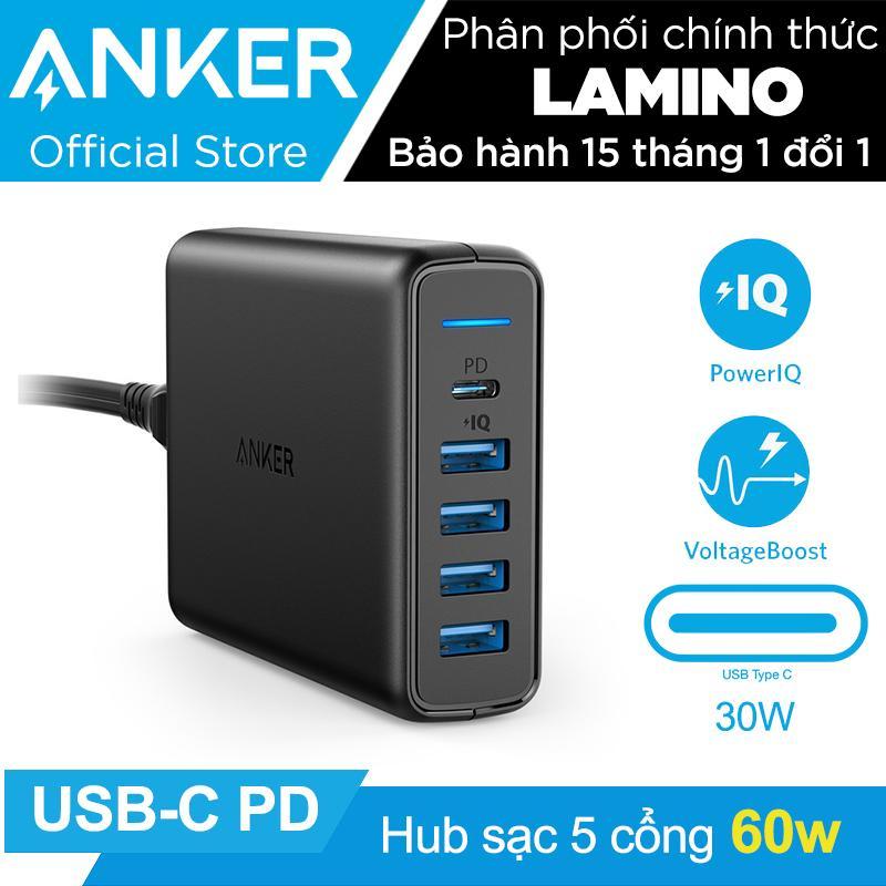 Hình ảnh Sạc ANKER PowerPort+ 5 cổng 60w với cổng USB-C Power Delivery (Đen) – Hãng Phân Phối Chính Thức