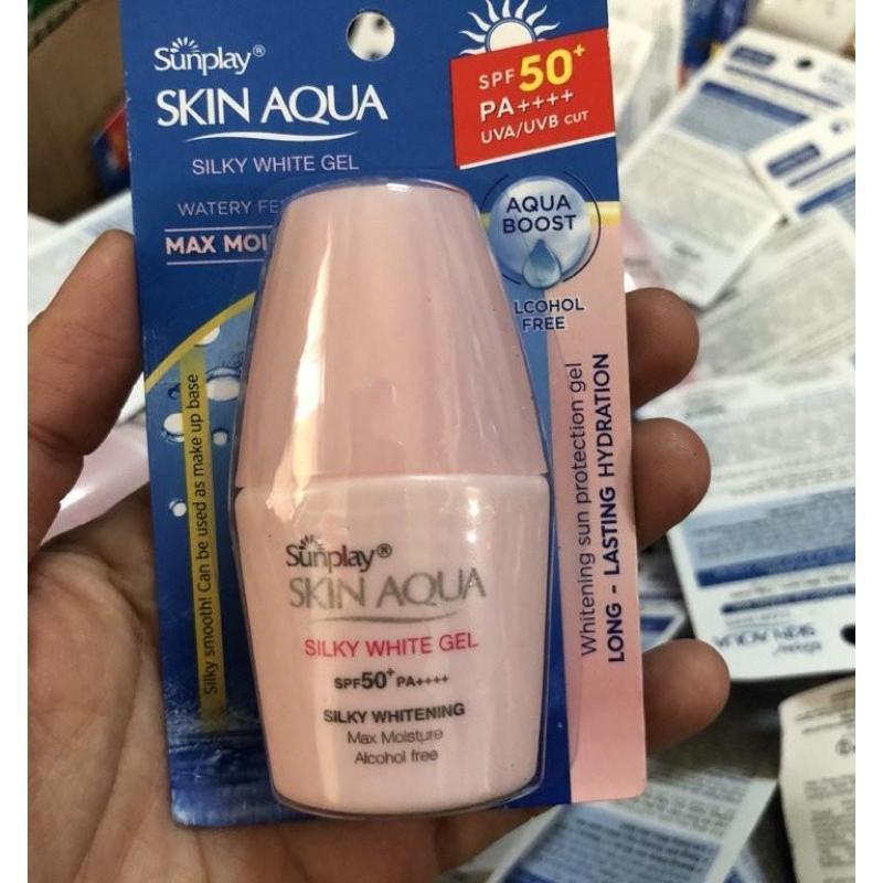 Combo 5 kem chống nắng Sunplay Skin Aqua Silky White Gel (mẫu thử)