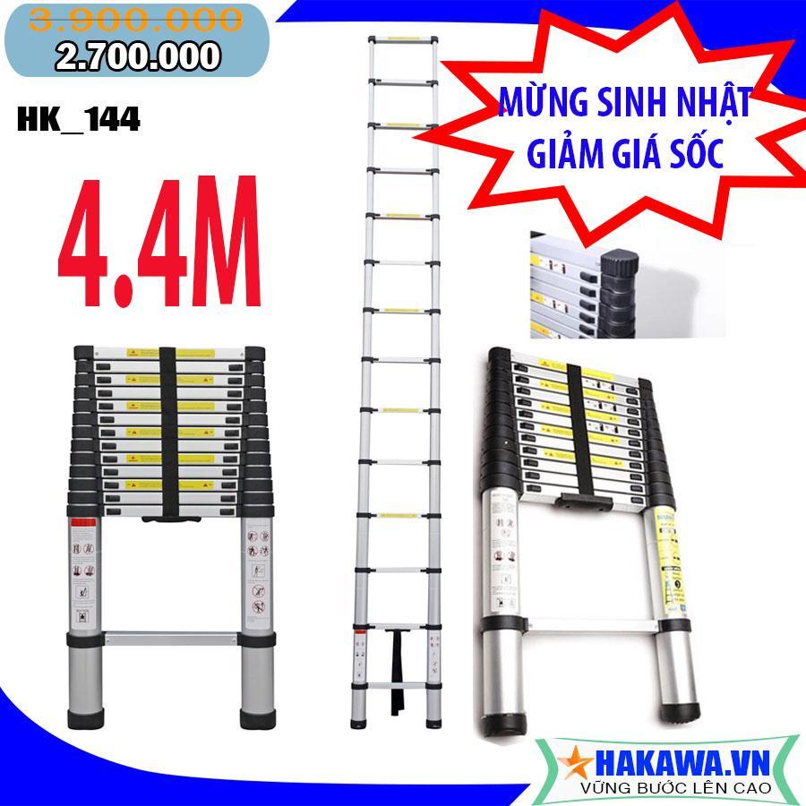 [thang nhôm rút] Thang nhôm rút gọn HAKAWA HK144  - HÀNG NHẬT BẢN, chất lượng cao, 4 mét 4