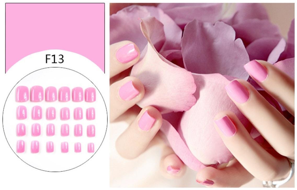 Bộ 24 móng tay giả màu hồng đầu vuông (kèm keo+dũa) tốt nhất