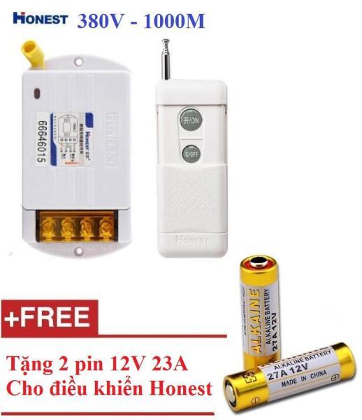 Công tắc điều khiển từ xa 3 pha Honest HT-6380KG 10A/ 380V khoảng cách 1Km + tặng 2 pin 12v 32A cho điều khiển