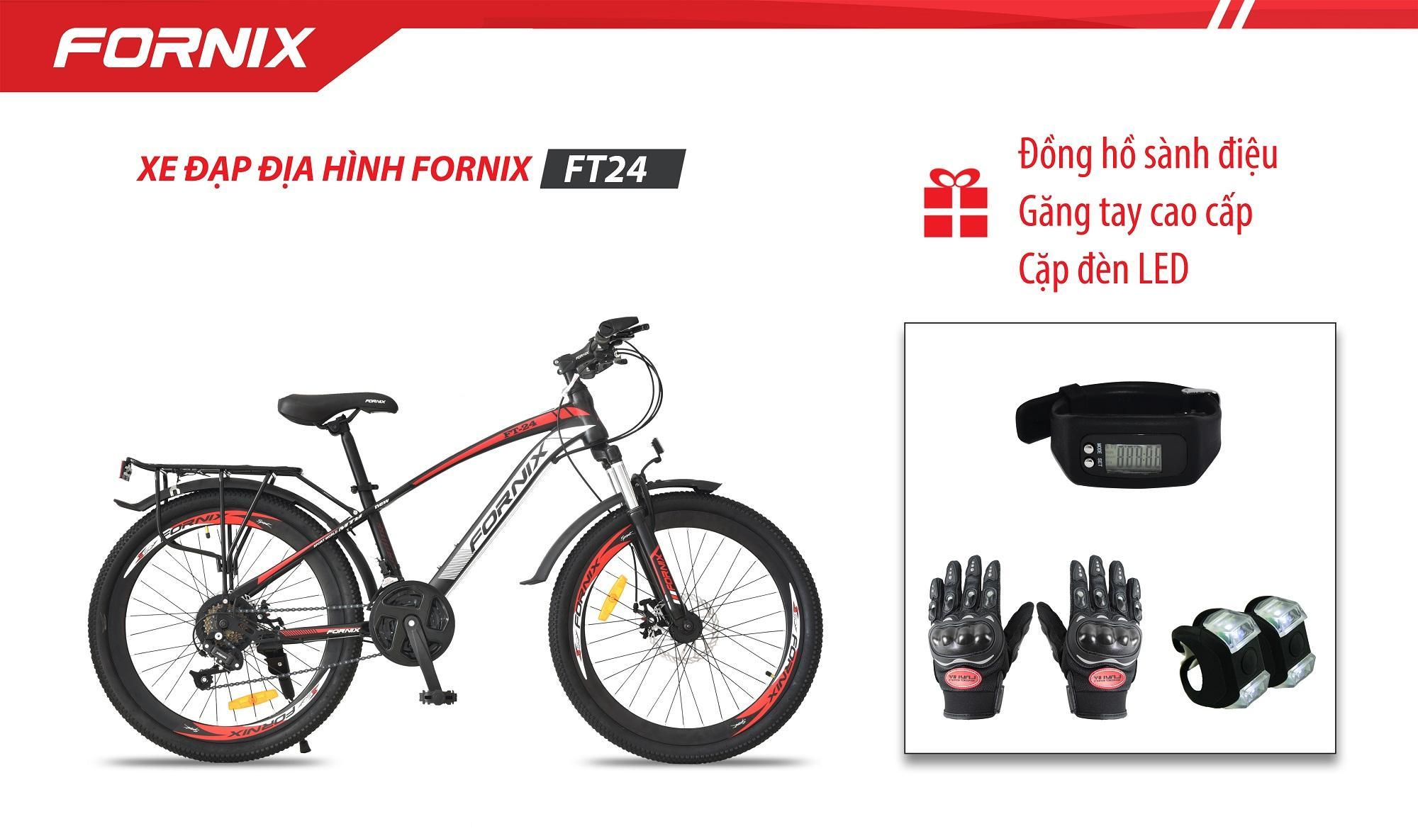 XE ĐẠP ĐỊA HÌNH FORNIX FT24+ (Gift) Cặp đèn LED, Đồng hồ đo bước đi, Găng tay