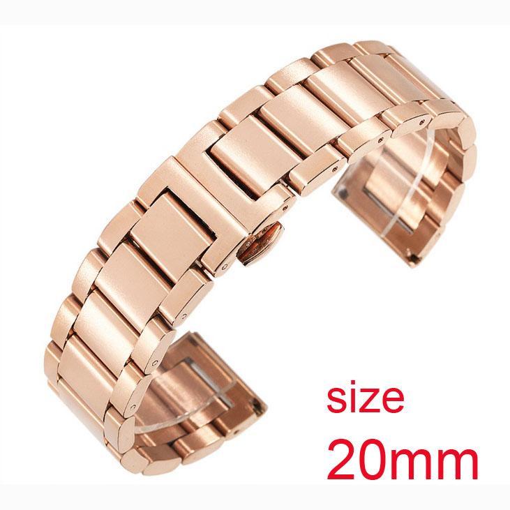 Dây đeo đồng hồ thép không gỉ đúc đặc size 20mm (Vàng hồng) bán chạy