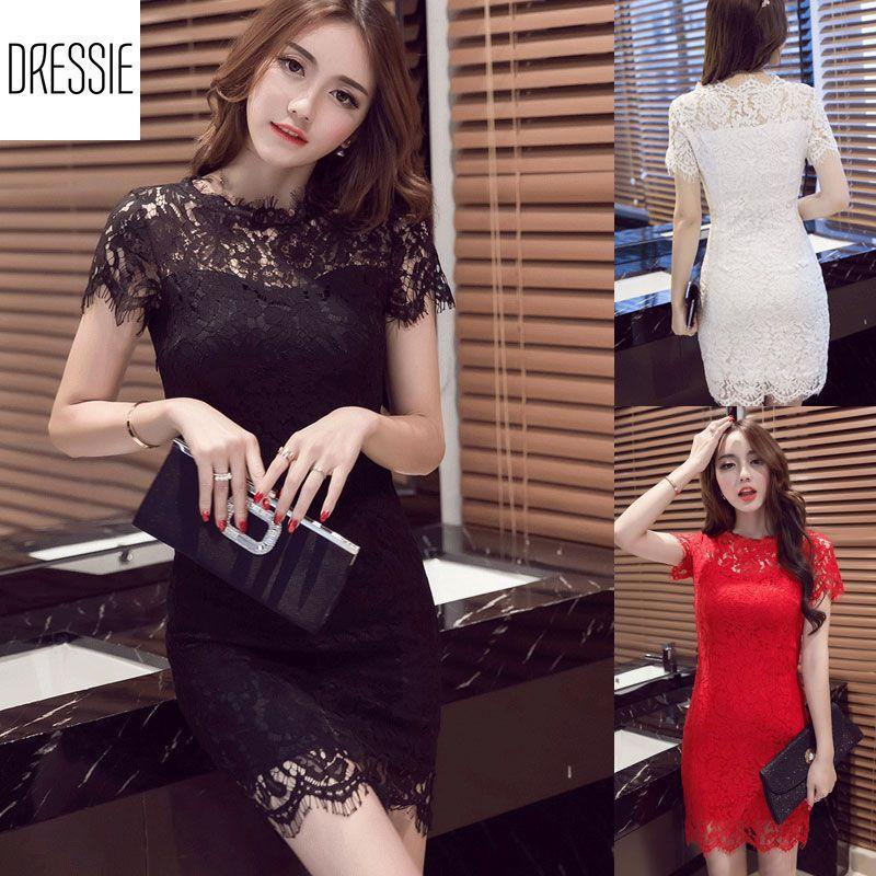 Nơi bán [HÌNH THẬT-Có 3 Màu] Váy Đầm Ren Ôm Body DRESSIE Thời Trang Công Sở Dạo Phố Dự Tiệc Đám Cưới - DB0174 (Đen - Trắng - Đỏ)