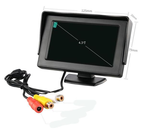Màn hình taplo 4.3 inch - loại đứng nhỏ gọn, chuyên hiển thị camera tiến lùi, điện áp 12V-24V có 2 cổng AV, màn hình màu dạng TFT-LCD cho hình ảnh camera sắc nét