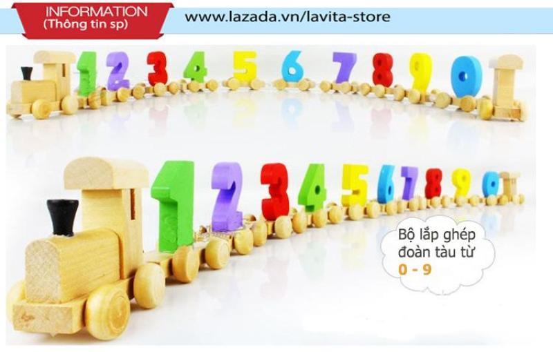 Bộ đồ chơi gỗ đoàn tàu giúp bé học số