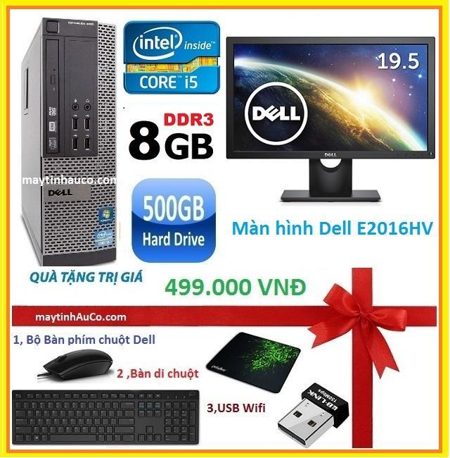 Bộ máy tính để bàn đồng bộ Dell optiplex 390 ( Core i5 / 8G / 500G ) , Màn hình Dell 19.5 Wide - Led  , Tặng Bàn phím chuột Dell , USB wifi , bàn di chuột - Hàng Nhập Khẩu