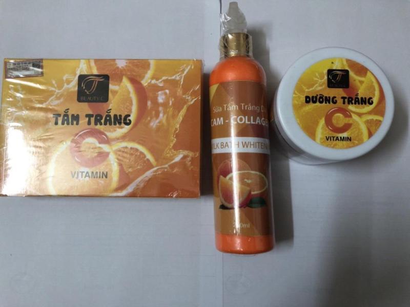 Bộ 3 tắm trắng vitamin c cam gồm sữa tắm + tắm trắng + kem dưỡng nhập khẩu