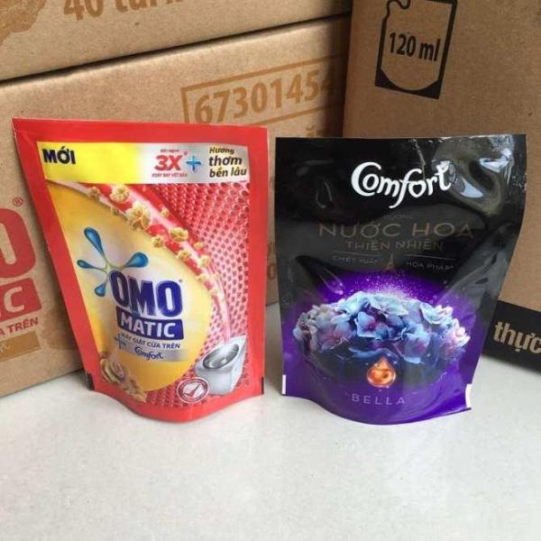 Trọn bộ 2 món : 1 túi nước giặt Omo Matic (Máy giặt cửa trên) (150Ml) + 1 Túi nước xả Comfort Nước Hoa (120 Ml