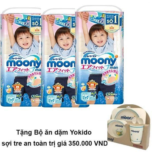 Mua Bộ 3 Ta Quần Moony Xl38 Boy Tặng Bộ Ăn Dặm Yokido Sợi Tre An Toan Trị Gia 350 000 Vnd Moony Rẻ
