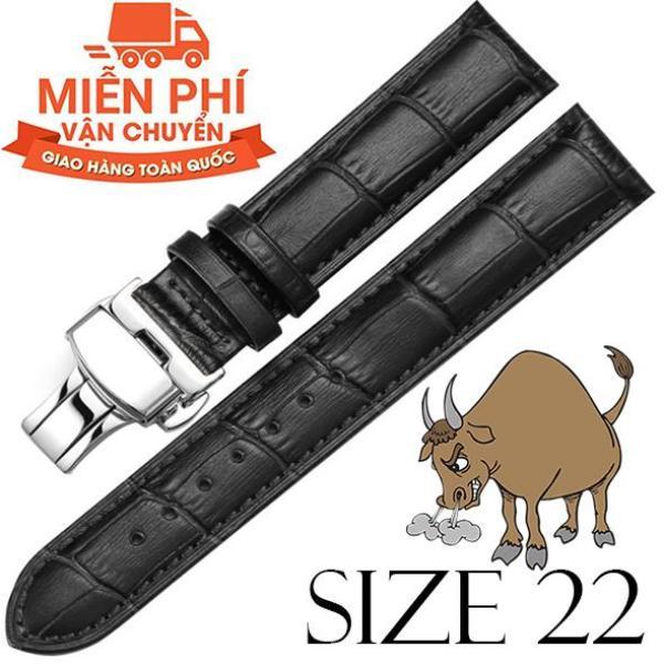 Dây đồng hồ da bò cao cấp SIZE 22mm (đen) kèm khóa bướm thép không gỉ 316L (bạc) bán chạy