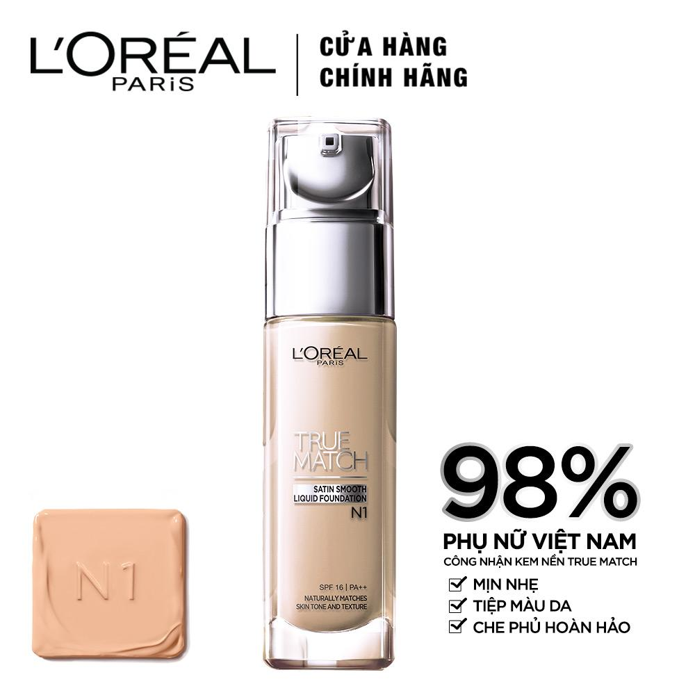 Kem nền mịn da LOreal Paris True match Liquid Foundation - N1 Nude Ivory 30ml