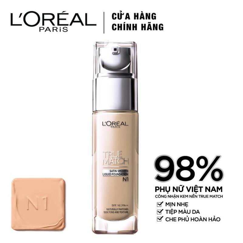 Kem nền mịn da LOreal Paris True match Liquid Foundation - N1 Nude Ivory 30ml nhập khẩu
