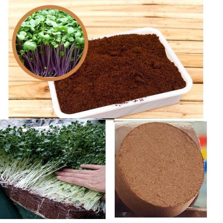 Đất sạch mùn dừa trồng rau dạng viên nén 0.4Kg/viên (Bộ 10 viên)