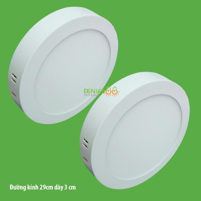Bộ 2 đèn led nổi ốp trần 24w tròn ánh sáng trắng