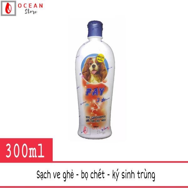 Sữa tắm diệt ve ghẻ, bọ chét, dưỡng lông thơm lâu cho chó mèo - Fay 3 sao 300ml
