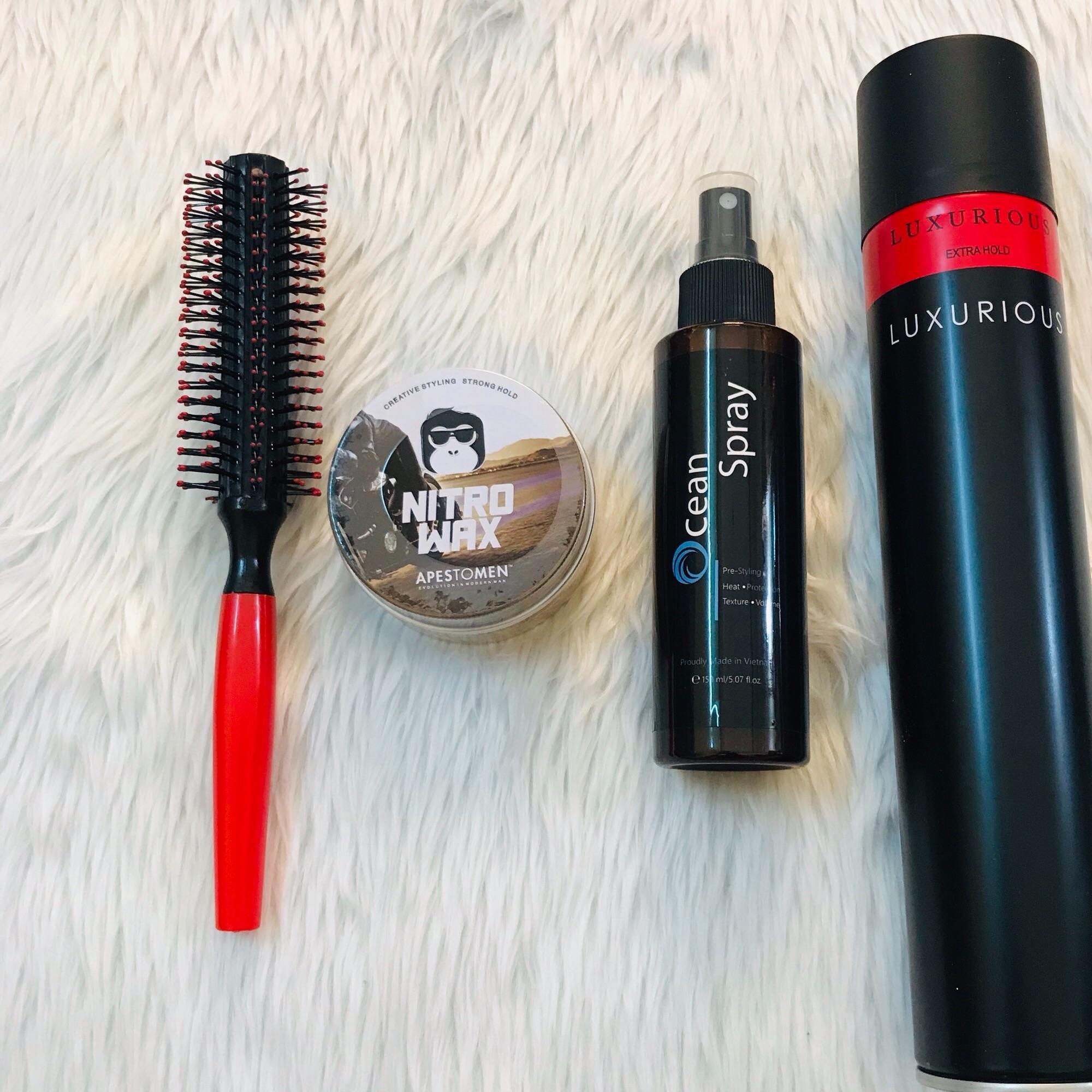 Combo sáp vuốt tóc Nitro Wax nắp nhôm + gôm Luxurious + Ocean Spray + lược tròn