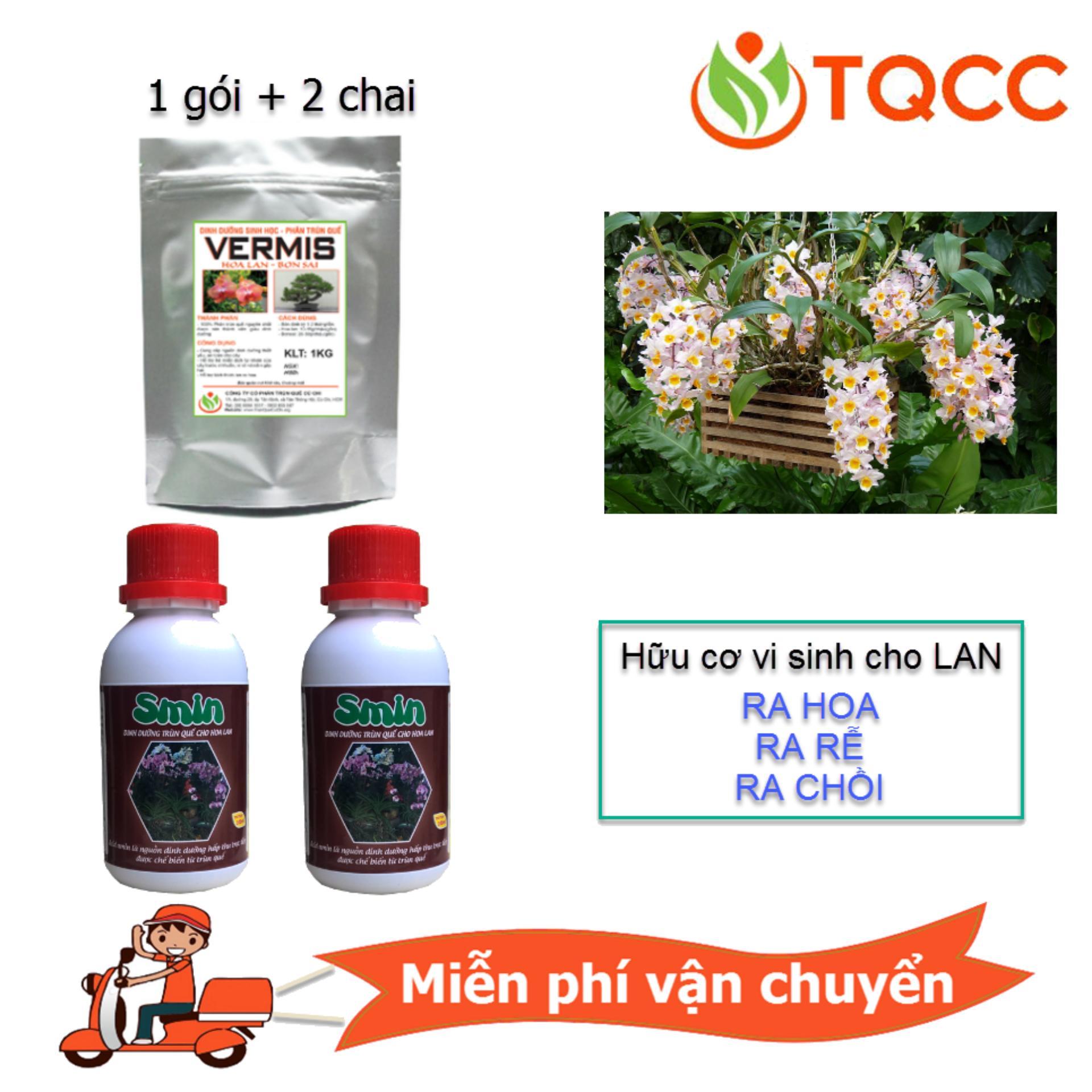 Bộ sản phẩm chăm sóc cho hoa lan (2 Smin 100ml + 1 Vermis 1kg)