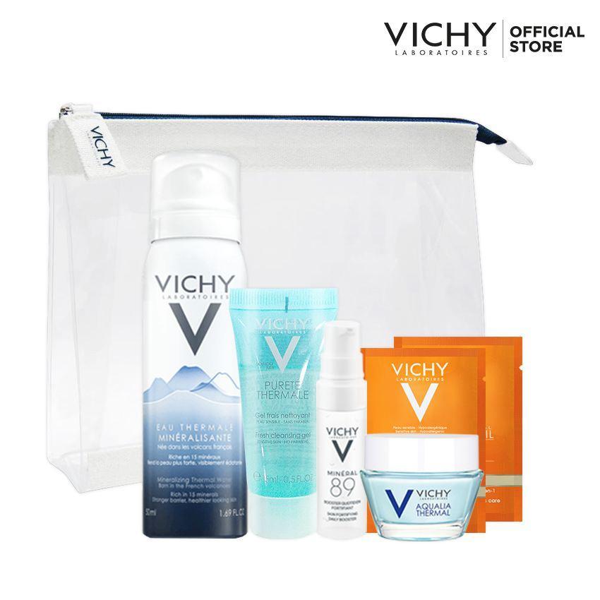 Bộ sản phẩm dưỡng ẩm và chăm sóc da Vichy Aqualia White Bag