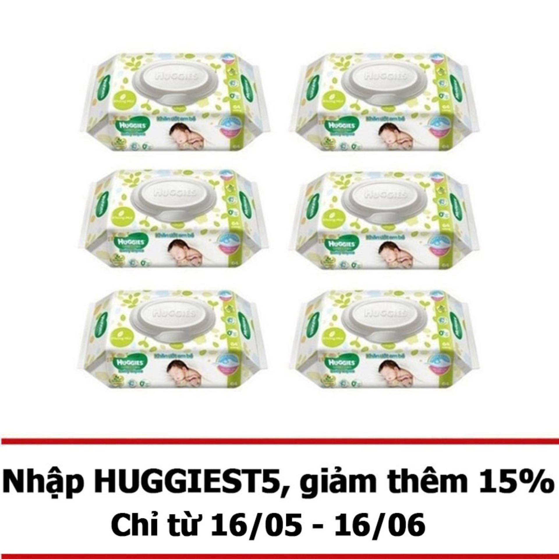 Bộ 6 gói khăn giấy ướt cho trẻ sơ sinh Huggies 64 tờ