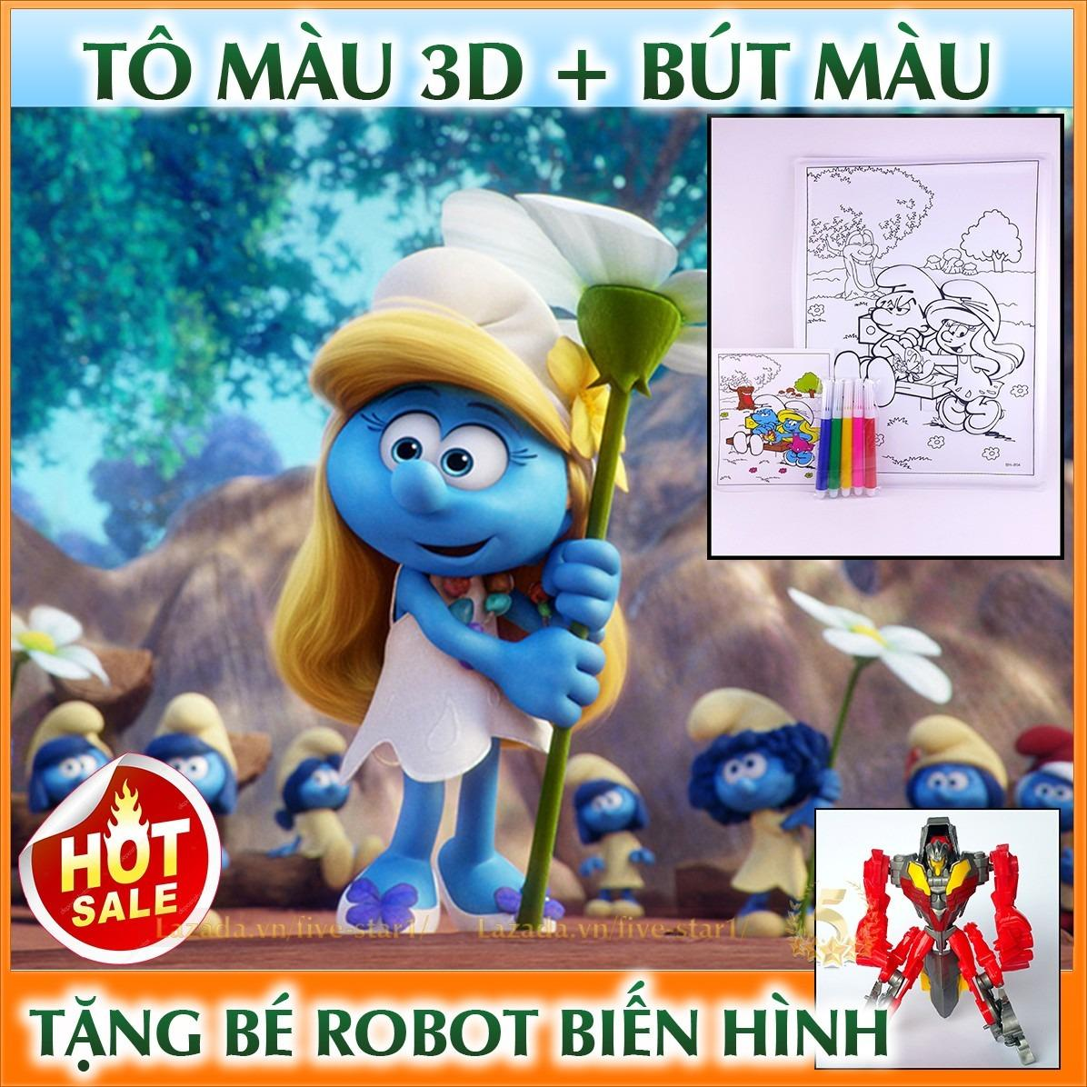 Hình ảnh Bộ tranh tô màu 3D đáng yêu cho trẻ em + Tặng kèm robot biến hình cực chất