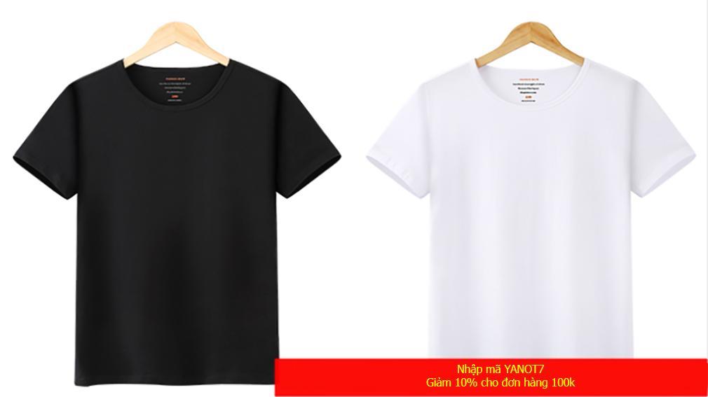 THỜI TRANG SỈ Bộ 2 áo thun bé gái vải dày mềm mịn trắng - đen