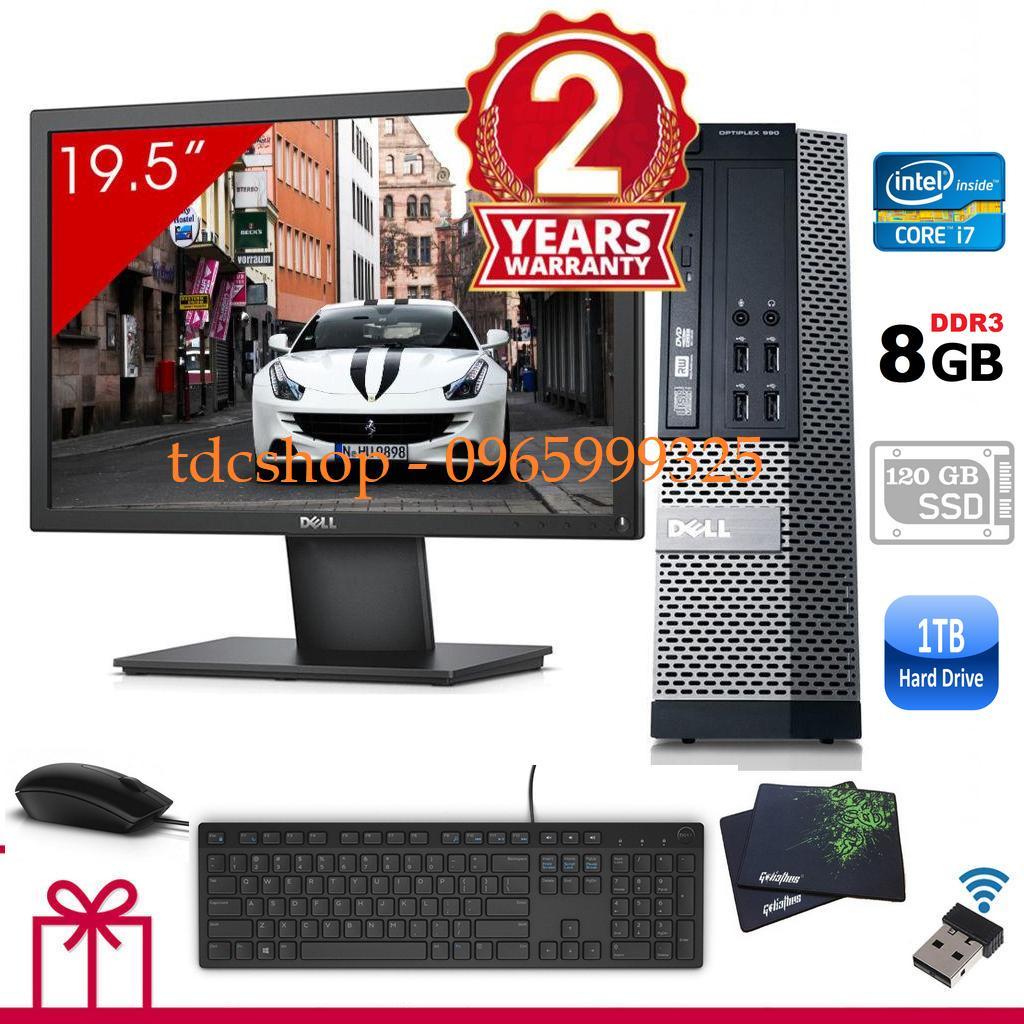 Máy tính Dell Optiplex 990 ( Core i7 2600, ram 8gb,SSD 120gb & HDD 1000gb ), Màn Hình LG 20 inch. Tặng bàn phím chuột Dell , usb wifi. Hàng Nhập Khẩu BC 990