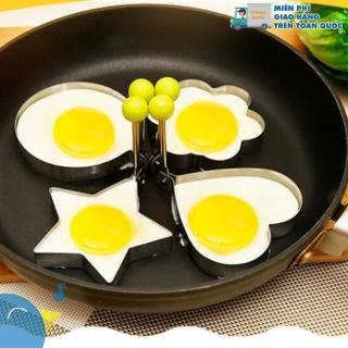 Bộ 4 khuôn rán trứng, khuôn inox cao cấp (khuôn chiên trứng tạo hình, khuôn làm bánh, khuôn cắt bột, khuôn cơm) thumbnail