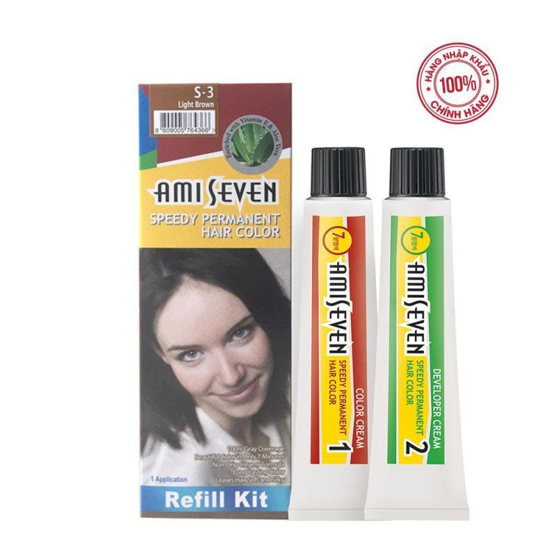 Nhuộm phủ bạc dược thảo Ami Seven Speedy Permanent Hair Color  (60g/60g) nhanh 7 phút - Hàn Quốc - loại tiết kiệm màu S3: Nâu sáng nhập khẩu