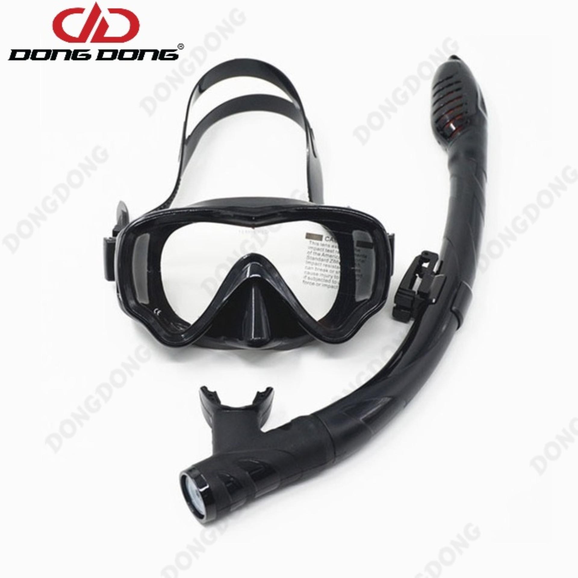Hình ảnh Kính lặn ống thở AMS, mắt KÍNH CƯỜNG LỰC + ống thở van 1 chiều ngăn nước cao cấp - DONGDONG