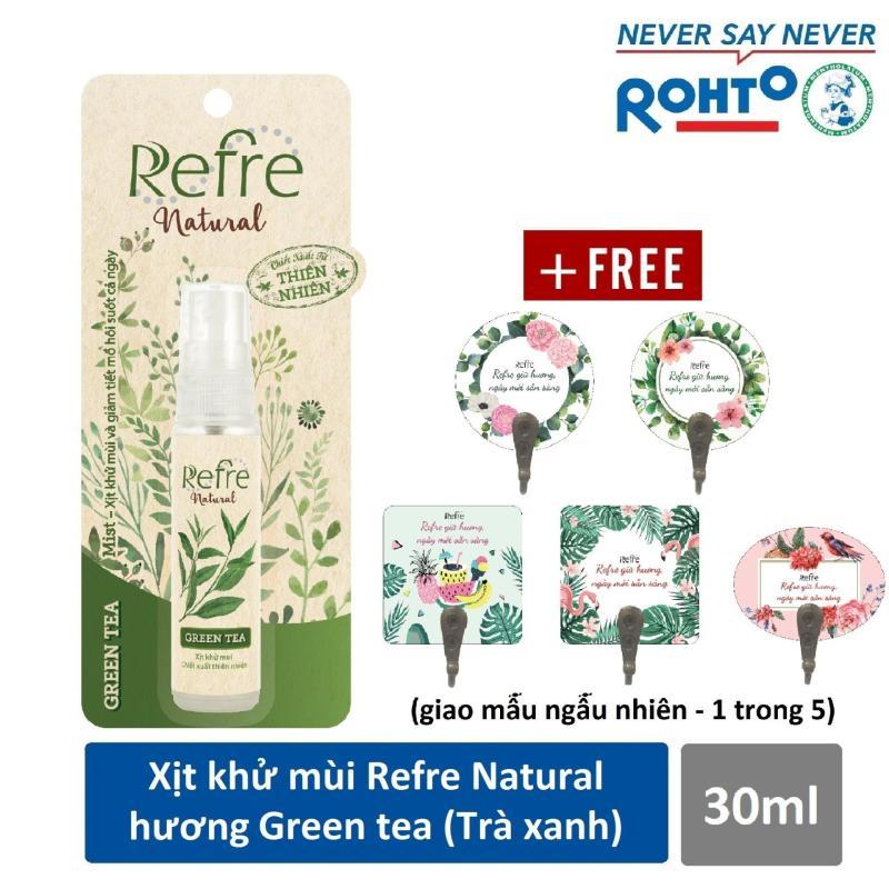 Xịt Khử Mùi Refre Natural Green Tea Hương Trà Xanh (30ml) + Tặng móc gỗ dán tường xinh xắn nhập khẩu