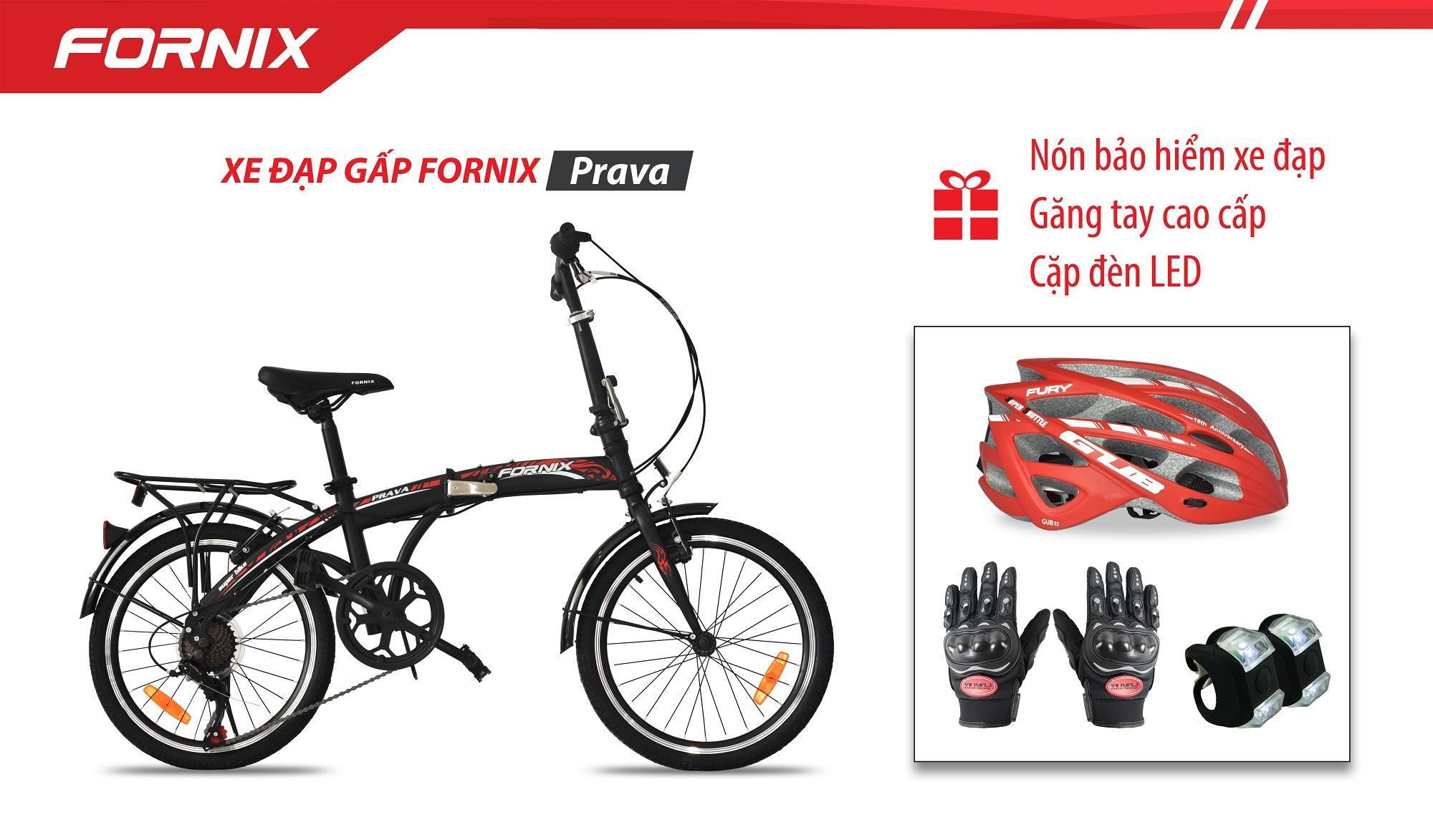Xe đạp gấp hiệu FORNIX, mã PRAVA + (Gift) Cặp đèn LED, Nón Bảo Hiểm A02N035L, Găng tay